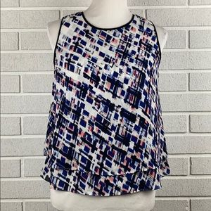 WHBM print sleeve less top size small